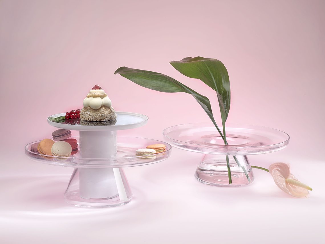 If Design and Red Dot Design award winning project. Bloom is a cake stand for Nude Glass.